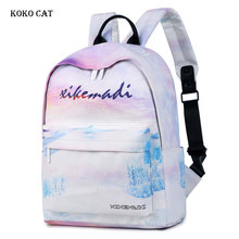 все цены на Teenage Girls School Backpack Multifunction Travel Bags Colourful Printing Canvas Student Daypack Waterproof Female Rucksack онлайн