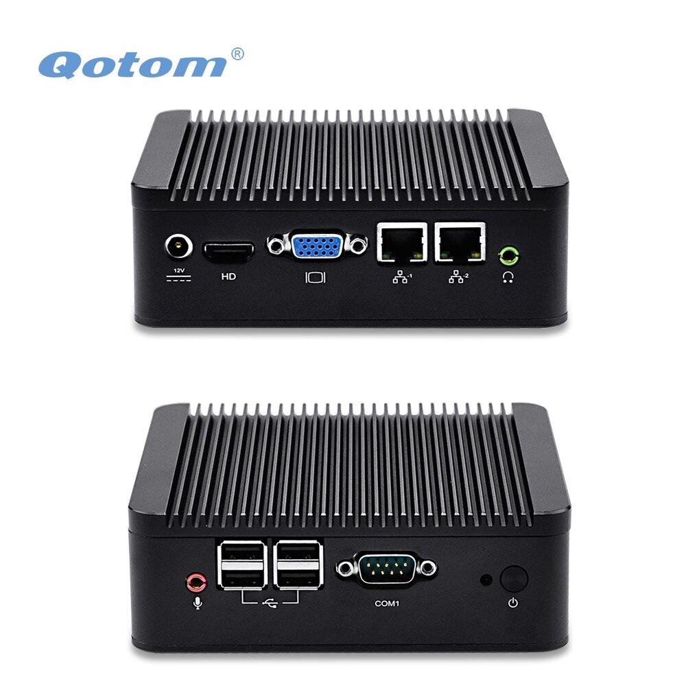 QOTOM Dual NIC Mini PC Q100S Q210S with 500G 1TB HDD 4 USB COM 2 display