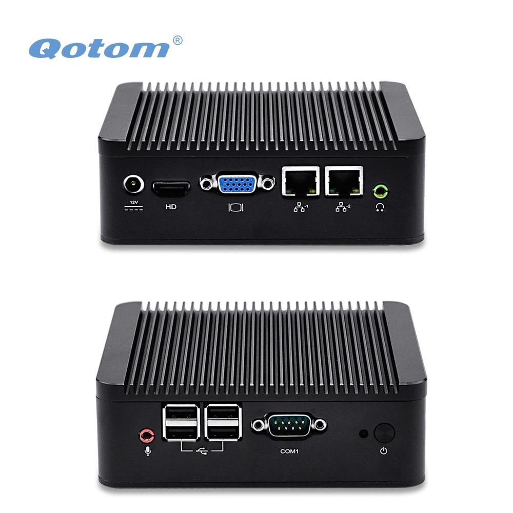 Qotom nic dual mini pc q100s/q210s con 500g/1 tb hdd, 4 USB, COM, 2 puerto de pa