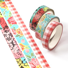3pcs/pack Washi Masking Tape Set Petal Flower, grid Paper Masking Tapes Japanese Washi Tape Diy Scrapbooking Sticker, 15mm x 5m цена и фото