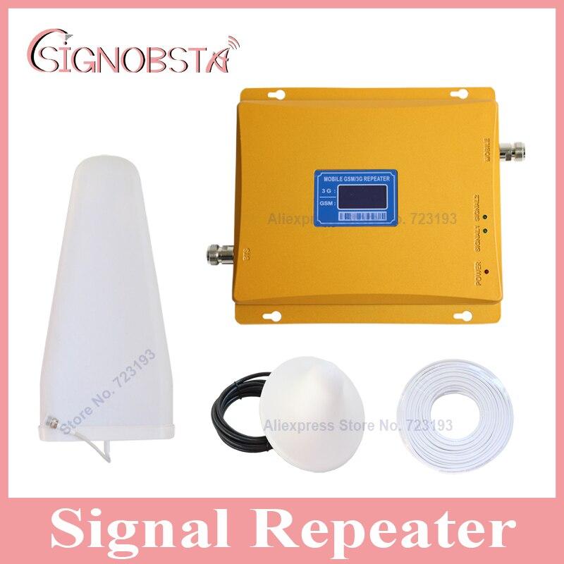 Alto ganho celular display LCD dual band 900 2100 repetidor de sinal de telefone móvel impulsionador gsm900 3g wcdma 2100 mhz UMTS amplificador
