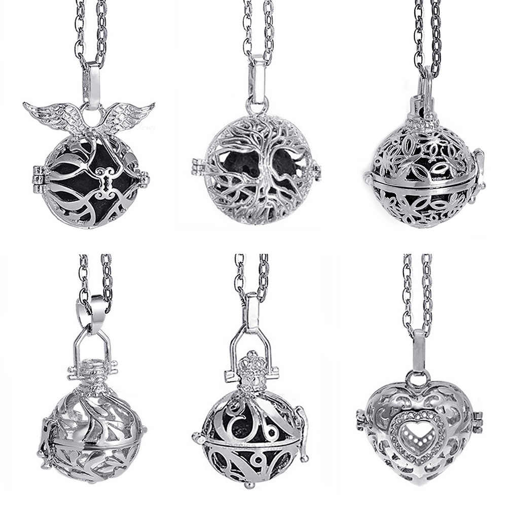 Lava Stone Aromatherapy Rhodium Stainless Steel Color Glow Diffuser Necklace Locket Necklace for Perfume Essential Oil