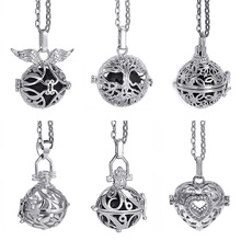 Lava Stone Aromatherapy Rhodium Stainless Steel Color Glow Diffuser Necklace Locket for Perfume Essential Oil