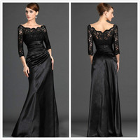 Elegant Boat Neck 3/4 Sleeve Lace Floor Length mermaid Black Evening Women Formal party gown 2018 mother of the bride dresses