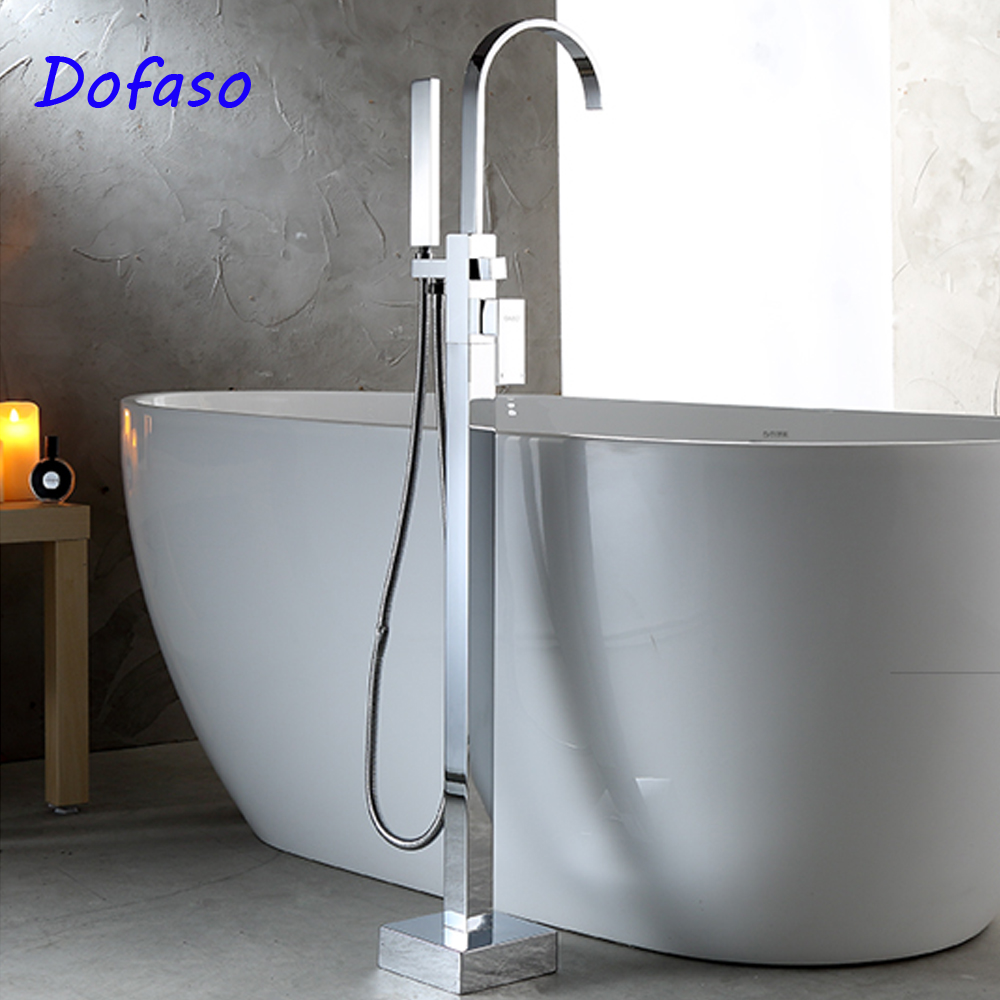 Dofaso luxury bathroom floor bathtub shower faucet set Waterfall Tub Mixer Standing Floor Mount Bathtub Faucet bathtub faucet solid brass luxury floor standing bathroom bathtub faucet antique dual handle with handheld shower crane hj 6051