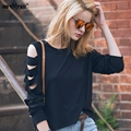 FROMMAZZ 2016 New Fashion Causal Black White Round Neck Full Sleeve Loose Chiffon T Shirts Tops Blusas FS16011