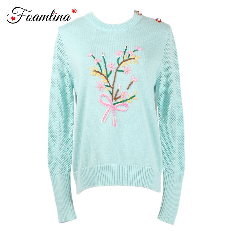 Foamlina Floral Sweater Women Autumn Hollow Out Long Sleeve Pullover Sweater Solid Color Female Knitwear Casual Jumper Femme