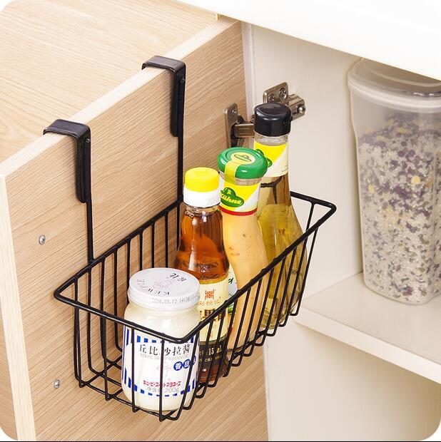 Baskets Above Kitchen Cabinets: Kitchen Organizer Iron Cabinet Door Hanging Storage Basket