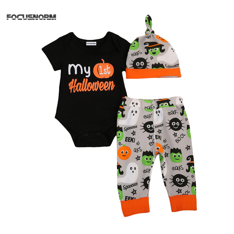 2017 New Casual Newborn Baby Boys Girl Halloween Romper Jumper Pants Leggings Hat Outfits Clothes 0-24M
