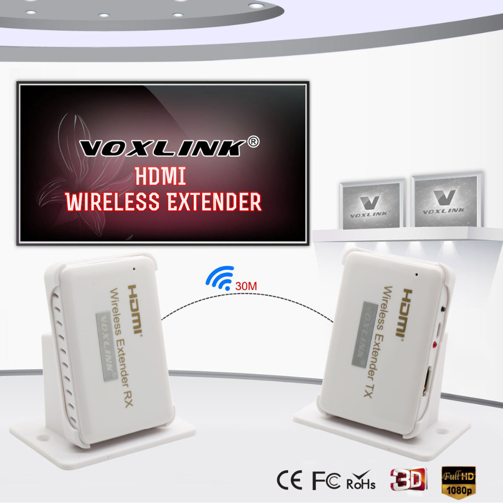VOXLINK HDMI Wireless transmission Extender 30m/98ft HD 1080P HDMI Transmitter&Receiver Support HDMI 1.4 HDCP 1.4 3D wireless hdmi 2 0 hdbt kvm extender ethernet transmitter receiver 100m over cat6 support 4k 2k 3d poe hdcp 2 2 rs232 hd baset
