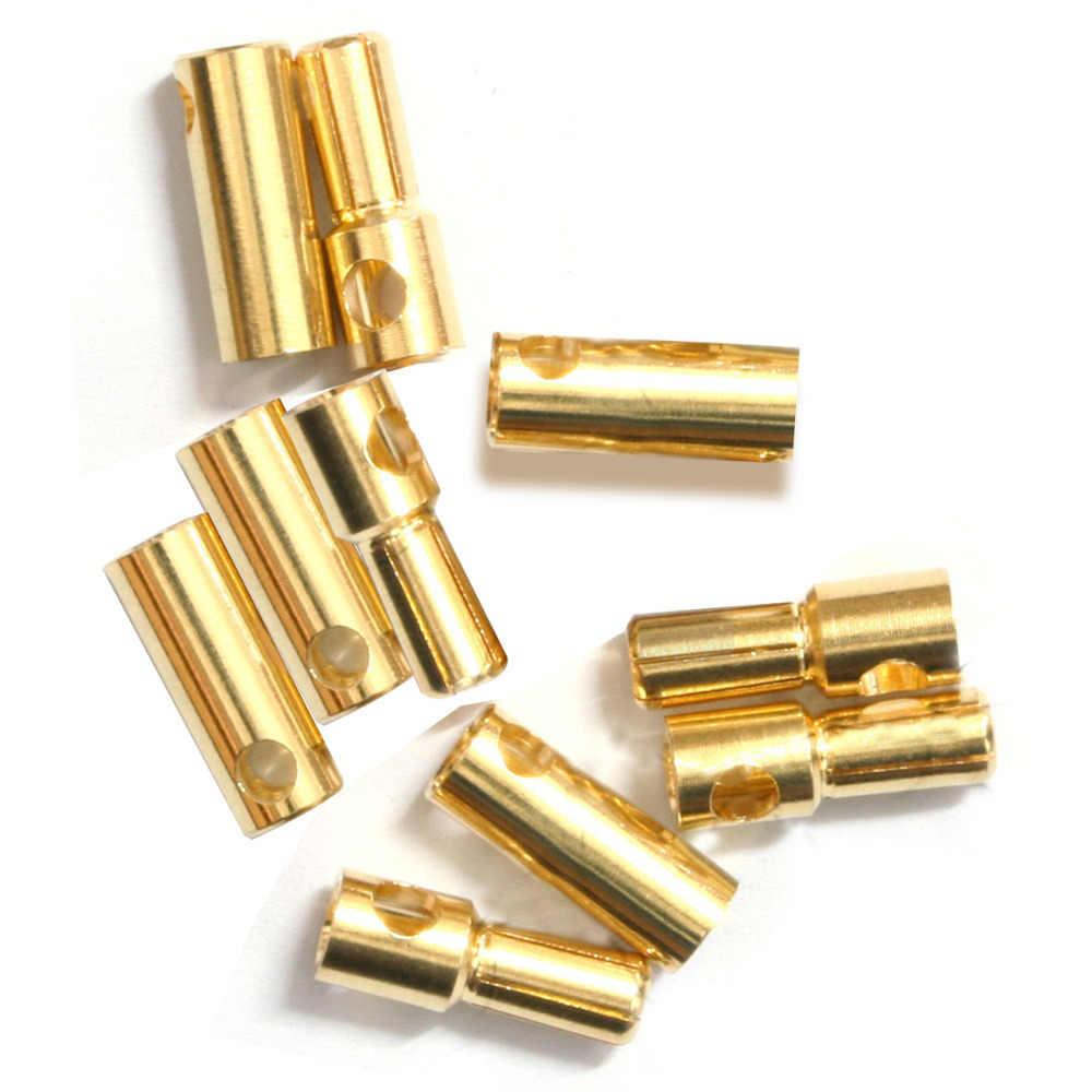 JMT 2mm 3,5mm 4mm 5mm 5,5mm 6mm 8mm oro bala de plátano conector macho y hembra chapado en oro grueso para batería ESC F19225