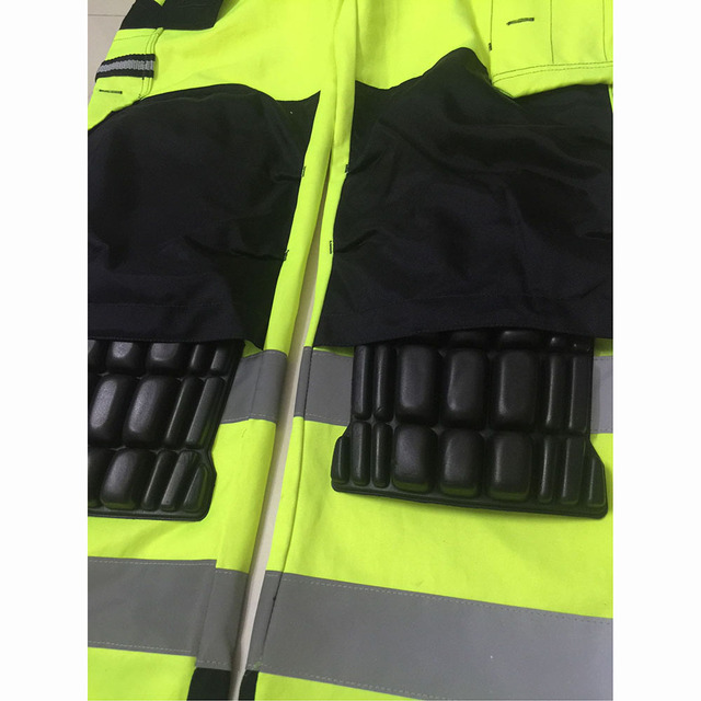 Reflective Men Working Pants High visibility Fluorescent Yellow Multi-pockets Work Trousers With Knee Pads Workwear Cargo Pants 3