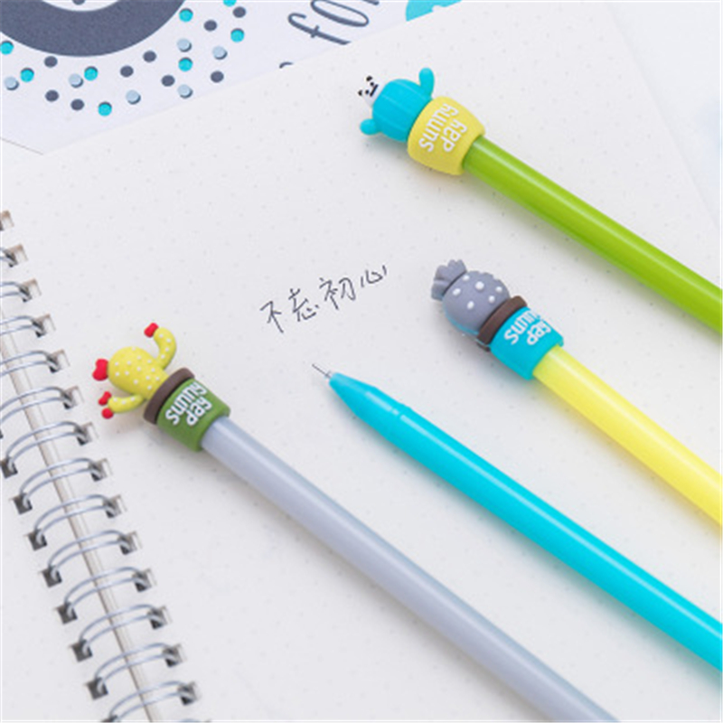 Kawaii Creative Cute Cactus Pen marker Neutral gel pen student stationery school office supplies learning stationery wholesale in Ballpoint Pens from Office School Supplies