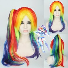 My Little Pony Long Curly Wavy Cosplay Wigs Multicolor for Women Female Fake Hair Wig 70cm with Long Tail for Chiristmas Party long side bang straight my little pony lily cosplay wig