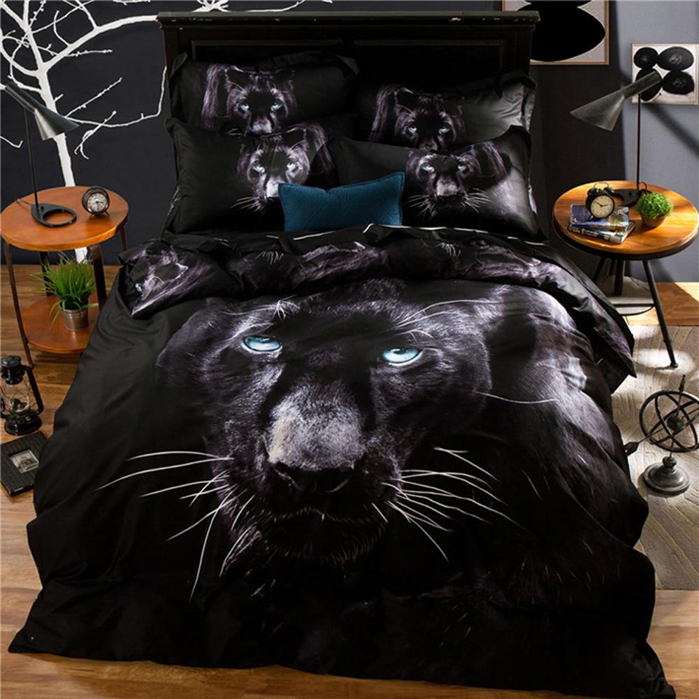 3D Vision 100% хлопок пододеяльник подшивок Животные леопарды, волки, Тигр шаблон реактивной печати и окрашивания Постельное белье