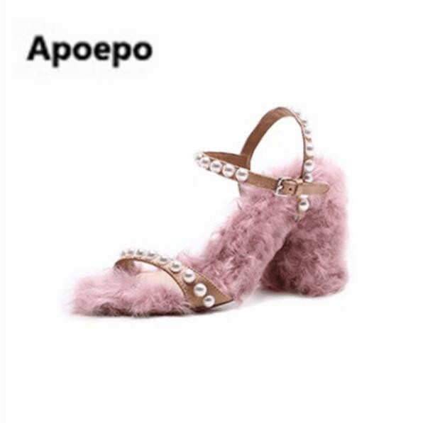 Apoepo brand ladies shoes summer pink Wool roll High production sandales femme pearl Handmade square high heels sandals women rakesh kumar production potential of summer mungbean cultivars in india