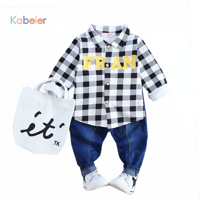 c23de0b1cfa51 Baby Boy Clothes 2017 Full Sleeve Plaid Kids Infant Boys Suit Costume  Clothing Coat Shirt And Jeans 1 2 3 4 Years Baby Clothes