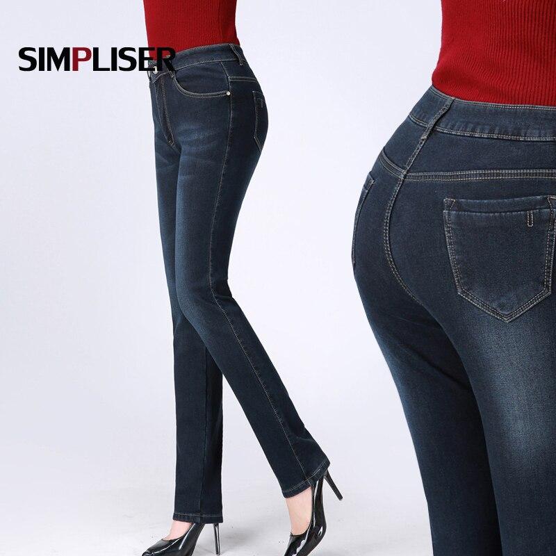 Warm Fleece   Jeans   Pants Women 2018 Winter Straight   Jeans   Trousers Large Sizes 36 34 Femme Mom   Jeans   Denim Blue Washed Pantalon
