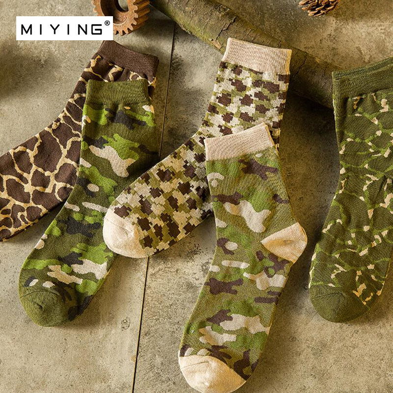 MIYING 5pair Youth Man Men Sock Camouflage Pattern Personality Funny Socks Summer Autumn Breathable Elasticity Excellent Quality