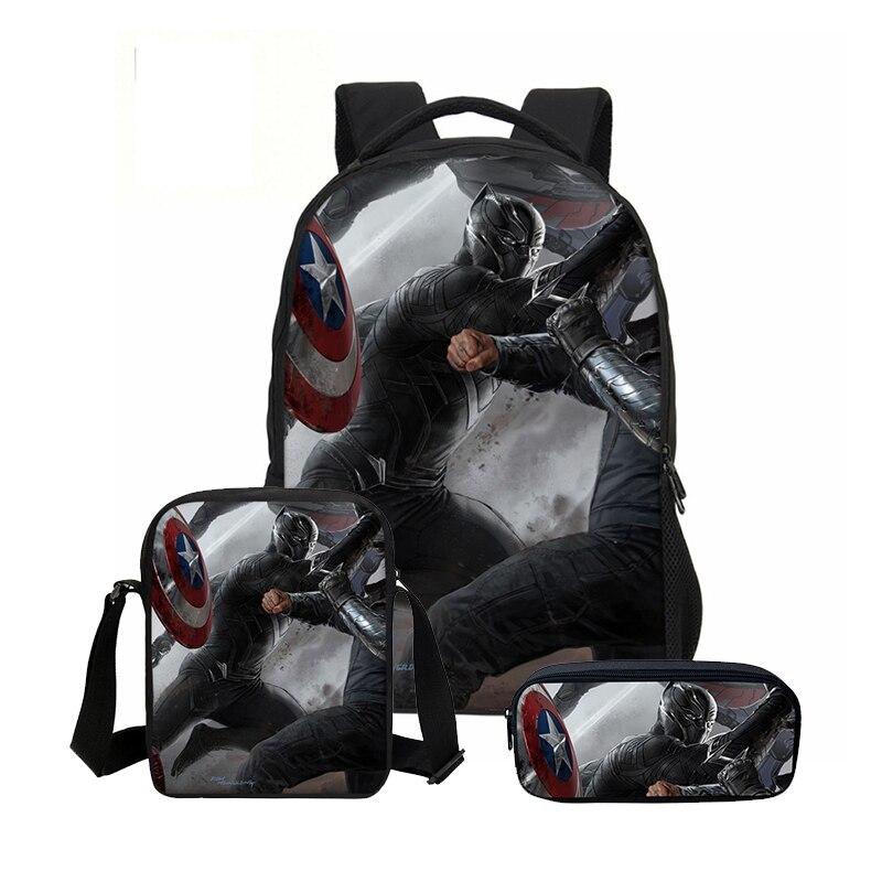 VEEVANV Black Panther Fashion 3 PCS/SET School Backpacks For Boys Girls Combination Teenage Bookbag Casual Mochila Shoulder Bags