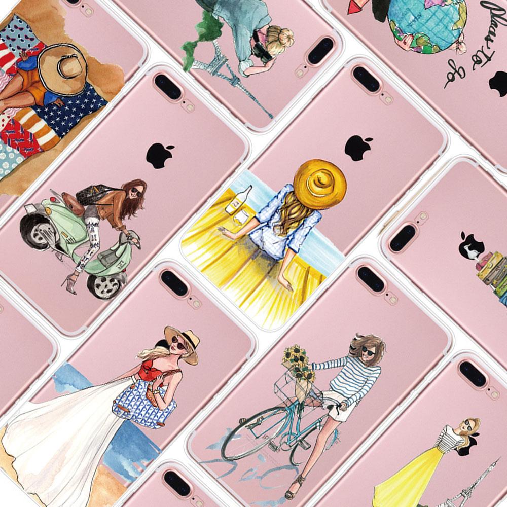 for Funda iPhone 6 case 6s 6 Plus 7 Plus X Cute Girls Soft TPU Cover for iPhone 7 Case Original for Coque iPhone 8 8 Plus Cases