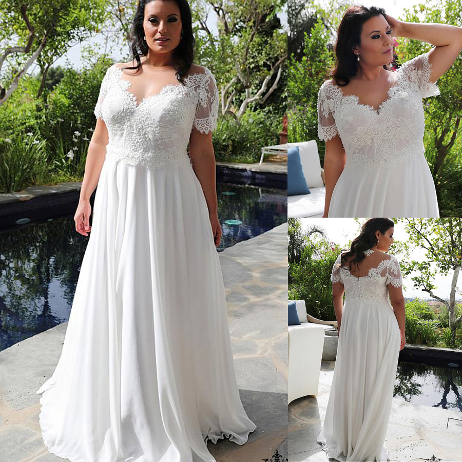 Brilliant Chiffon Jewel V-Neckline A-line Plus Size Wedding Dresses With Beaded Lace Appliques Short Sleeves Bridal Gowns