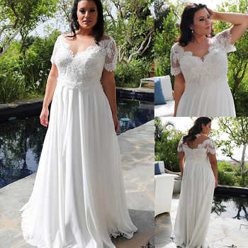 Brilliant Chiffon Jewel V-Neckline A-line Plus Size Wedding Dresses With Beaded Lace Appliques Short Sleeves Bridal Gowns - DISCOUNT ITEM  0% OFF All Category