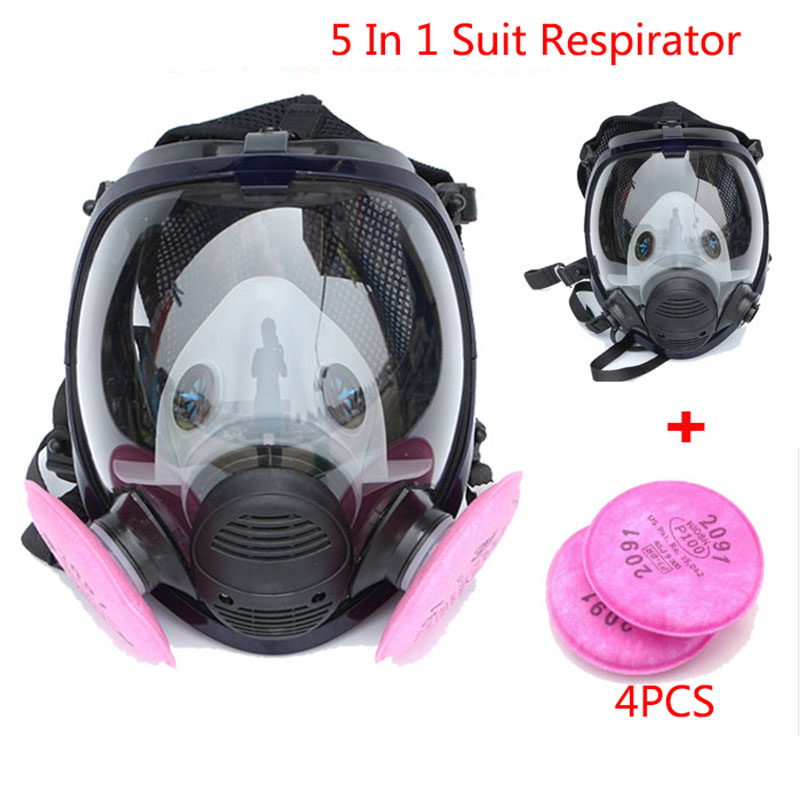 5 In 1 Suit Industry Painting Spraying Gas Mask Respirator Same For 6800 Gas Mask Full Face Facepiece Chemcial Respirator 9 in 1 suit gas mask half face respirator painting spraying for 3 m 7502 n95 6001cn dust gas mask respirator