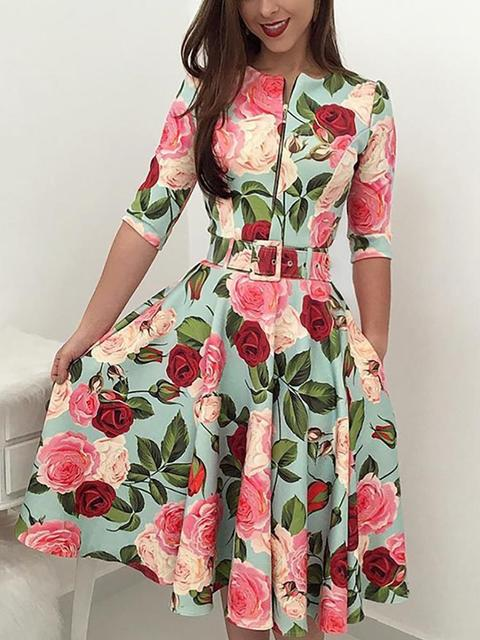 Autumn Print Newest Women Bandage Bodycon Casual Long Sleeve Zipper Evening Party Midi Dress Floral Suits