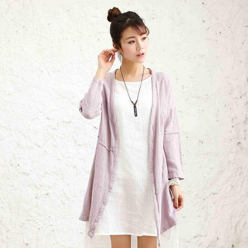 2020 Spring New Art Simple Loose Women Blouses Retro Cotton Linen Plus Size Long Sleeve Blouse Mori Girl Blusas Cardigan