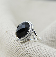 Wholesale 925 Sterling Silver Ring Opening Big Black Onyx Live COOL BLACK RETRO Personality And Ring