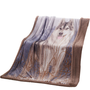 Wolf Print Throw Double Faces Flannel Sofa Plaid 130X160CM Adult Soft Warm Coral Fleece Animal Pattern Sherpa Blanket