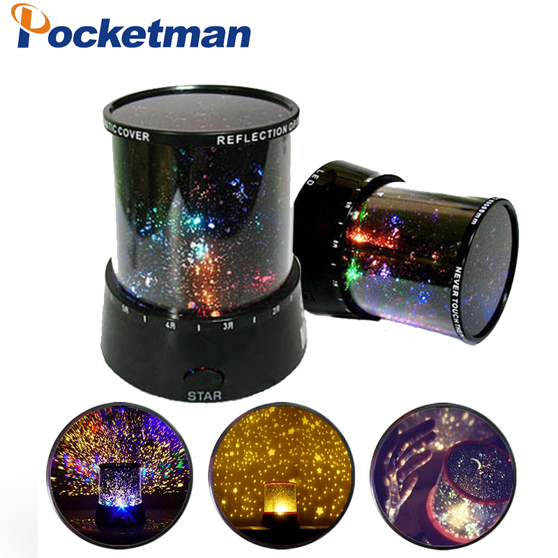 Star Lighting Lamp LED Romantic Room Rotating Cosmos Stars Projector Night Light Starry Moon Sky For Kid Christmas rotation starry star moon sky romantic night projector light lamp pink