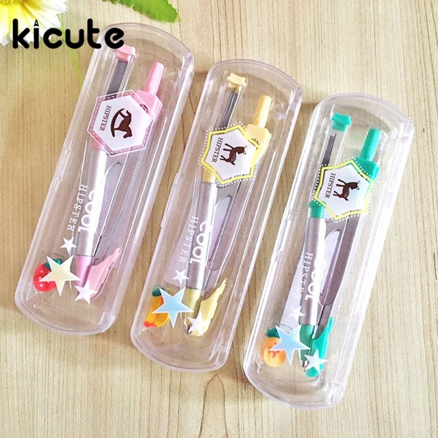 Kicute 1pcs Cute Kawaii Metal Compasses Set With Pencil Lead Drawing  Instruments Drafting Tool School Office