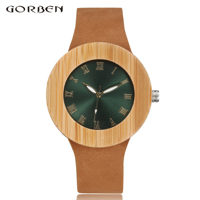 2017 GORBEN Brand Fashion Bamboo Ladies Wooden Watches For Women Luxury Royal Blue Green Shining Dial Leather Top Womens Watches 1