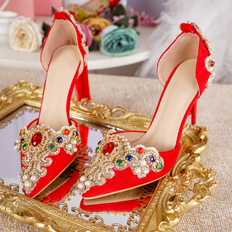 Women Wedding Sandals Ankle Buckle Strap Gold Lace With Red Green Gem Pearl Tassel 6cm Heels High Quality Nice Bride Shoes vacuum pump inlet filters f007 7 rc3 out diameter of 340mm high is 360mm