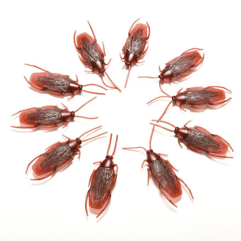 Broma divertida broma Juguetes modelo realista especial simulación cucaracha de goma falsa cucaracha insecto cucarachas de juguete 10 unids/lote