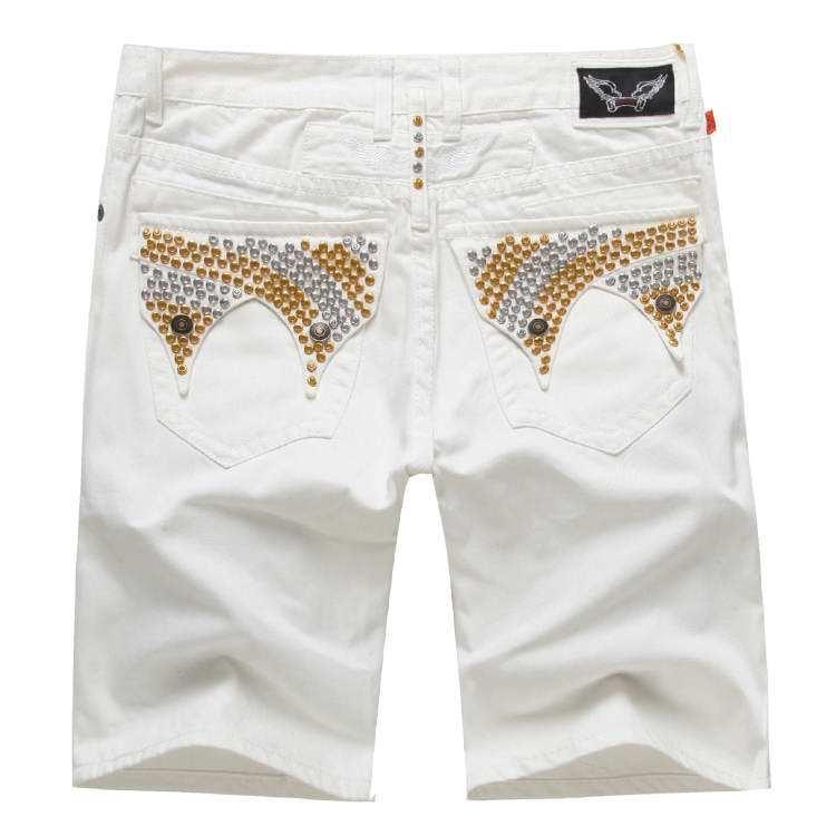 2015 White Robin Shorts Men Jeans Designer Famous Brand Denim Plus Size 40 42 - Yuchen Store store