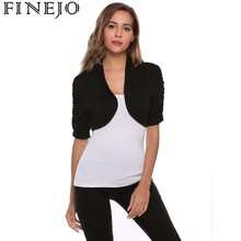FINEJO Women Casual Spring Autumn Ruffle Short Sleeve Solid Front Open Sexy Cardigan