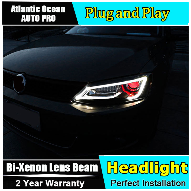 Auto part Style LED Head Lamp for VW Jetta led headlight 2012-2017 for Jetta drl H7 hid Bi-Xenon Lens angel eye low beam headlight for kia k2 rio 2015 including angel eye demon eye drl turn light projector lens hid high low beam assembly