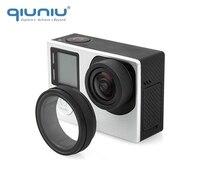 Qiuniu for gopro 액세서리 uv 필터 렌즈 보호대 광학 유리 uv 렌즈 보호 커버 gopro hero 4 3 + 3 카메라