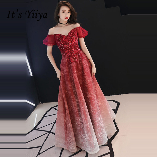 It s YiiYa Evening Dress 2018 Wine Red Beading Appliques Boat Neck A-line  Gradient Color Dinner Gowns SB009 robe de soiree 23110a330cdc