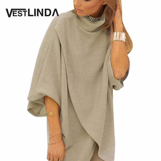 Vestlinda asimétricos de moda dress mujeres media manga de cuello alto vestidos femme fashion cotton solid casual dress mini vestidos