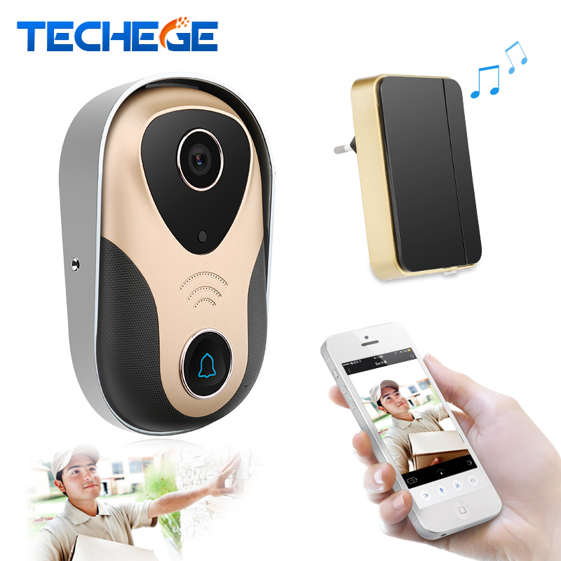 Techege Wifi Doorbell 720P Wireless Wired Video Door Phone Intercom Night Vision Motion Detection Remote Control wifi door bell kinco wifi remote control night vision video doorbell hd waterproof dtmf motion detection alarm smart home for smartphone