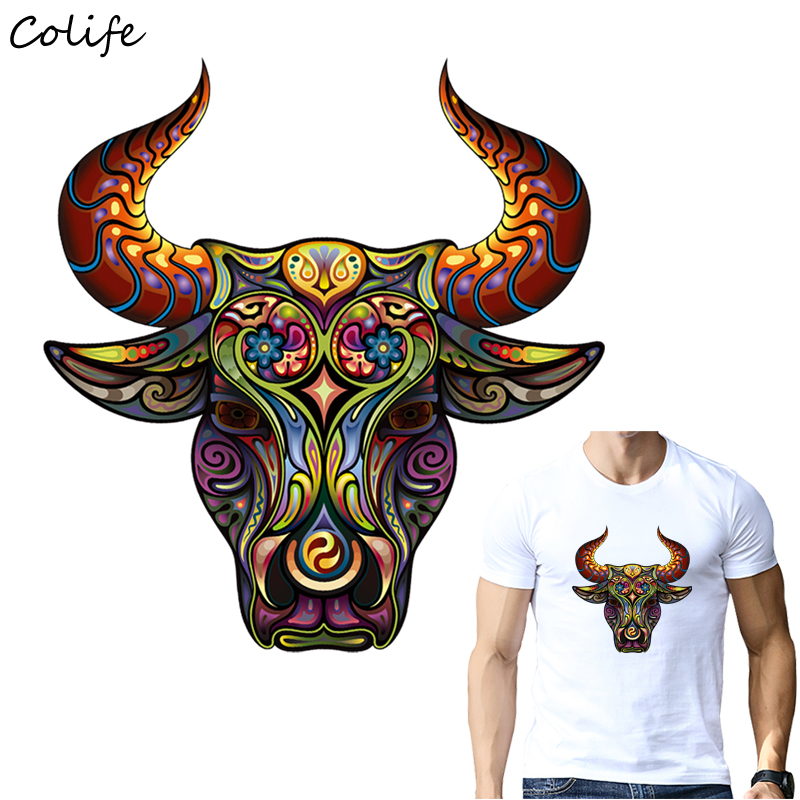 Cool Patches Bull Head Animal Patch Iron On Transfers Heat Press Clothing Stickers for Families DIY Appliques Decoration cabeza de toro de colores