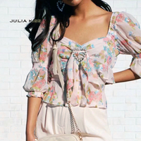 Women Sweetheart Neckline Floral Print Chiffon Top with Beading Heart Front