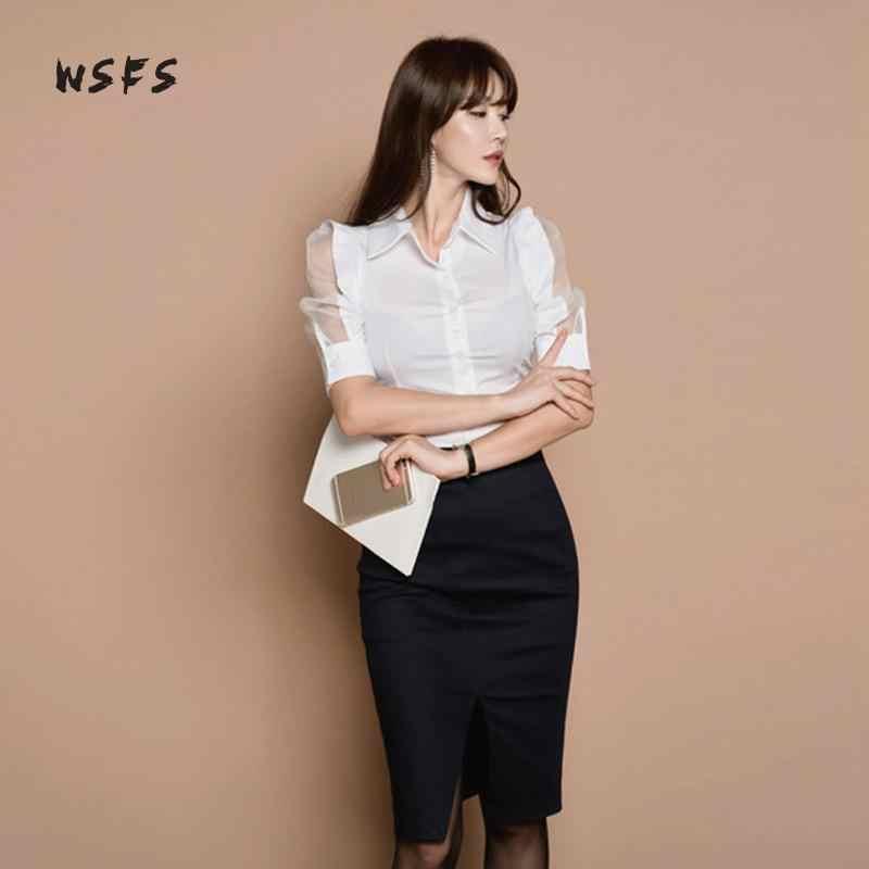Комплекты из 2 предметов белые футболки Блузы-топы отложной Пышный рукав сетка черные мини-юбки бандаж карандаш миди офисный костюм для дам платье