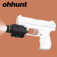 Ohhunt Tactical LED Flashlight With Green Laser Sight Combo White Light 200 Lumens Picatinny Rail Mount
