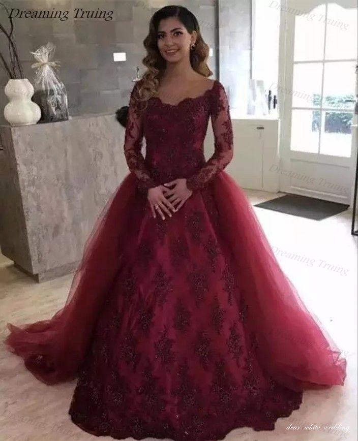Prom Dress With Detachable Train: Custom Made Burgundy Prom Dresses With Detachable Train