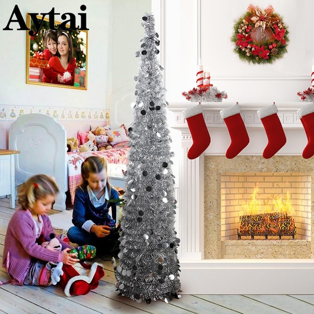 aytai decoration christmas 150cm bling sequins christmas tree artificial tinsel pop up xmas tree new year